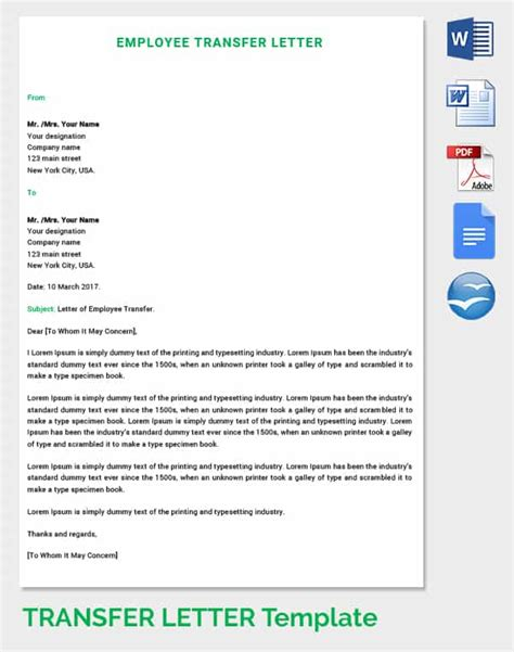 Transfer Letter Of Employee 39 transfer letter templates free sle exle