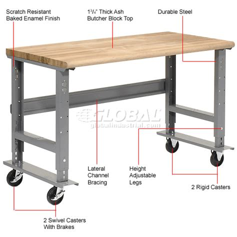 adjustable work benches mobile work bench adjustable height 72 quot w x 30 quot d mobile
