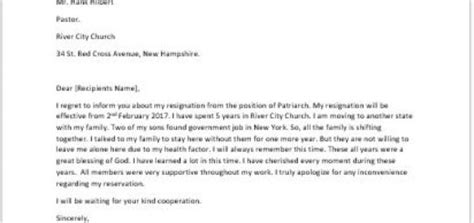 Resignation Letter Of Church Position Resignation Letter Because Of Health Reasons