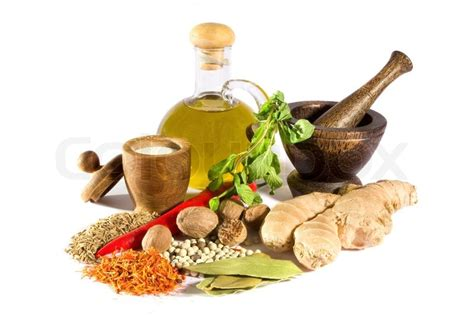 Sho Olive Herbal spices herbs salt olive and mortar stock photo