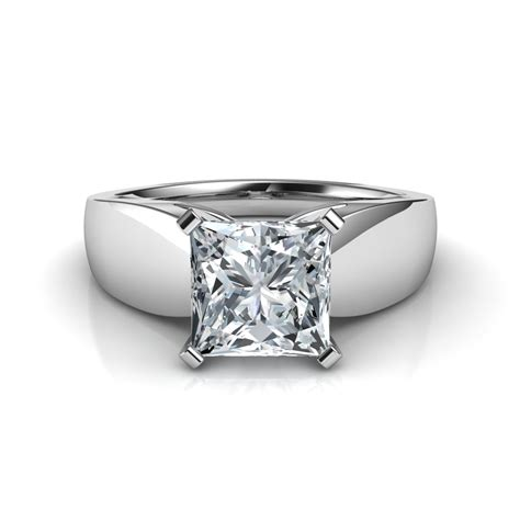 wide band princess cut engagement ring