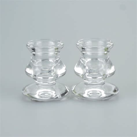 Tea Light Holder by A Pair Of Stylish Glass Taper Candle Holders Justcandles