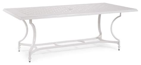 White Patio Dining Table Grayson Rectangular Outdoor Dining Table In White Finish Patio Furniture Traditional