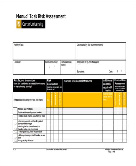 36 sle risk assessment form