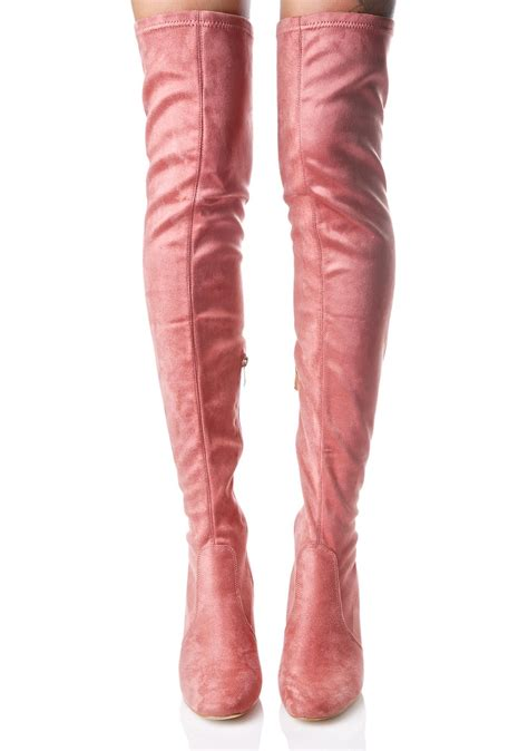 pink thigh high clear heel boot dolls kill