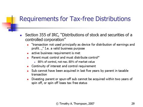 section 355 spin off sell offs spin offs carve outs and tracking stock ppt