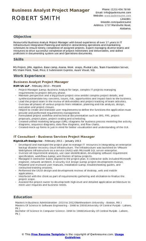 Resume Business Analyst Project Management business analyst project manager resume sle resume ideas