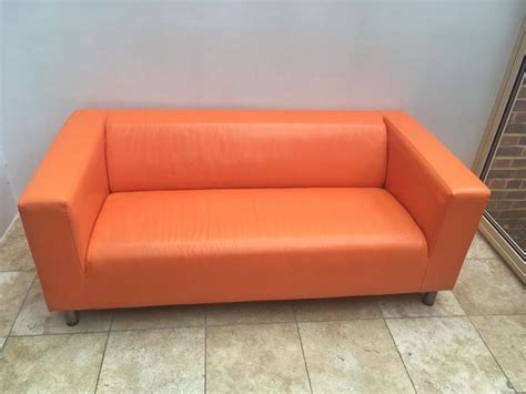 ikea orange sofa uk orange leather ikea klippan sofa in lewes east sussex