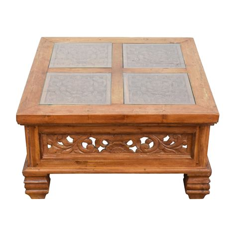 Coffee Table Glass Top 77 Teak Carved Coffee Table With Glass Top Tables