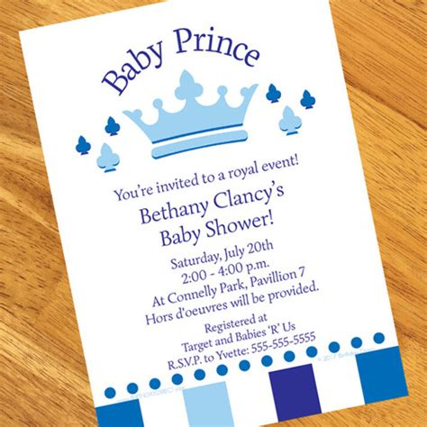 Baby Shower Personalized Invitations by Prince Baby Shower Personalized Invitations