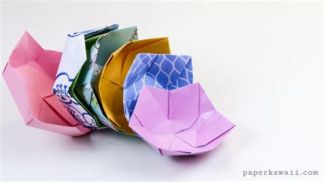 Folded Paper Bowl - origami flower bowl tutorial paper kawaii