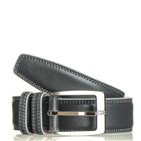 black co uk smokey grey italian leather belt in gray for