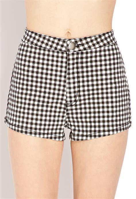 Gingham Shorts forever 21 retro gingham denim shorts in black black