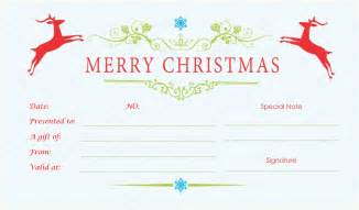 Gift Certificate Template Christmas Double Reindeer Christmas Gift Certificate Template
