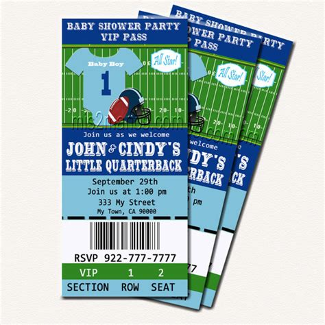 sports ticket invitation template football baby shower printable ticket invitations printable