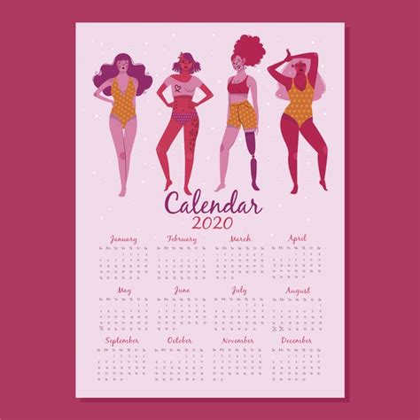 modelo de calendario  design plano  grupo de mulheres vetor gratis