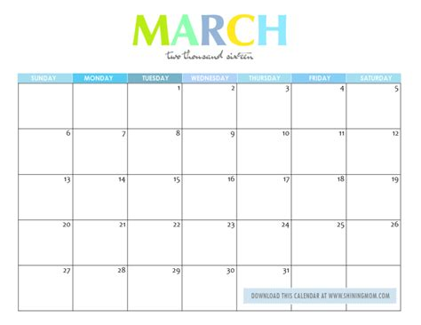 Calendar Printable 2016 March Free Printable Your Lovely 2016 Calendars