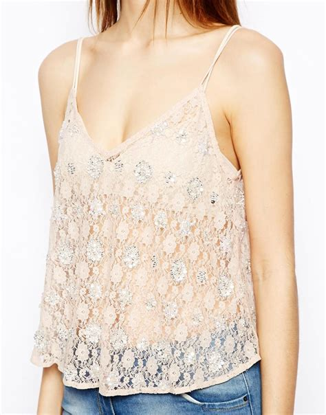 pink beaded top asos cami top in beaded lace in pink lyst