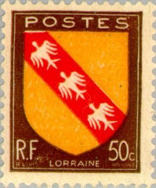 lorraine stamp and coat of arms from the merci train