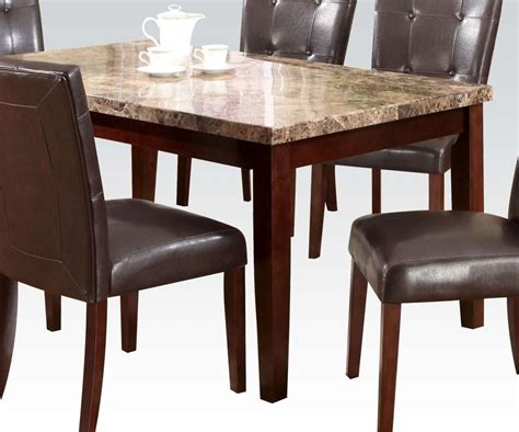 Brown Marble Dining Table Acme Granada Brown Marble Top Dining Table In Walnut 17042 By Dining Rooms Outlet