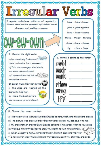 verb pattern lesson irregular verbs patterns of formation worksheet 1