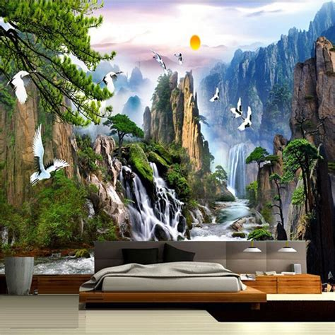 mountain wall murals style landscape paintings wall mural mountain waterfalls crowned crane