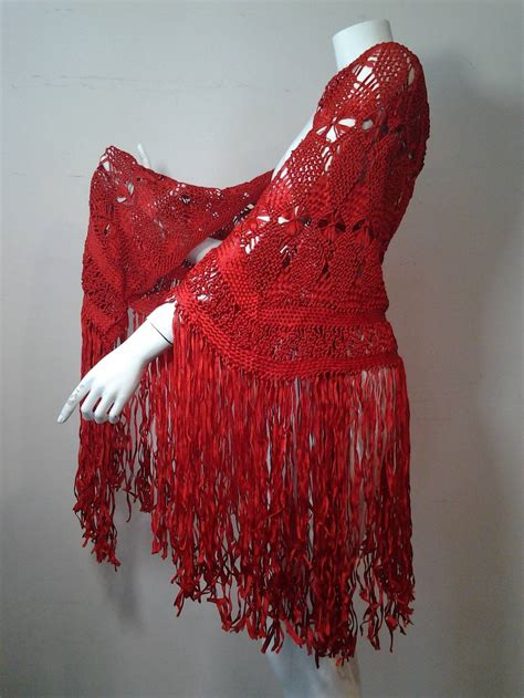 1970s scarlet ribbon macrame fringed shawl at 1stdibs