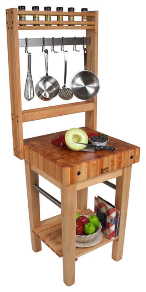 Kitchen Island Cart With Pot Rack Boos Pro Prep Block Pot Rack Maple Butcher Block Top