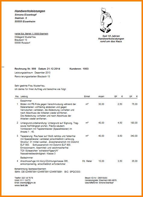 Rechnung Kleinunternehmer Leistungszeitraum 7 Vorlage Handwerkerrechnung Lesson Templated