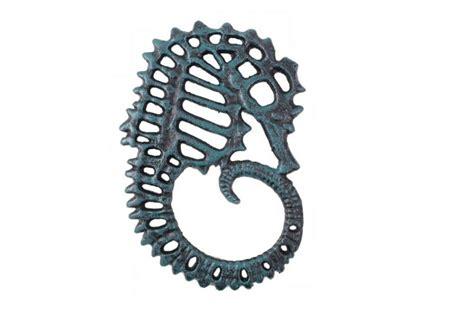 beach home decor wholesale seaworn blue cast iron seahorse trivet 6 quot