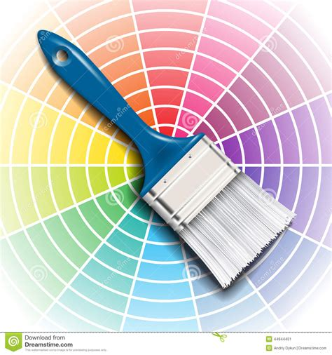 paint brush and color wheel stock vector image 44844451