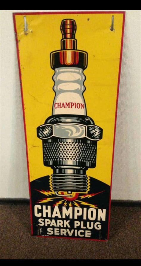 original champion spark plugs tin sign vintage tin signs