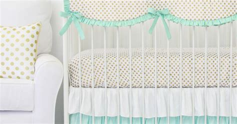 mint and gold bedding mint and gold dot ruffle baby bedding gold dots baby