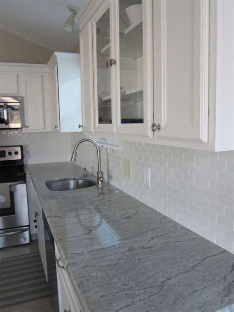 Backsplash Kitchen Diy river white granite white subway tile coastal living