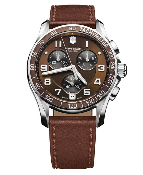 victorinox swiss army s chronograph brown leather 241498 style swiss army