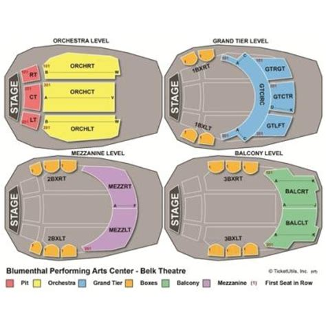 belk theater seating map vipseats belk theatre blumenthal pac tickets