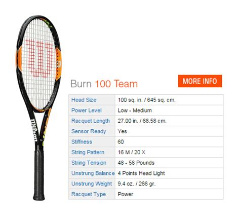 Promo Raket Wilson Burn Team 100 New wilson burn tennis rackets tennis plaza