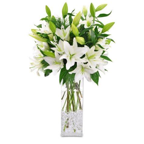 white lillies vase