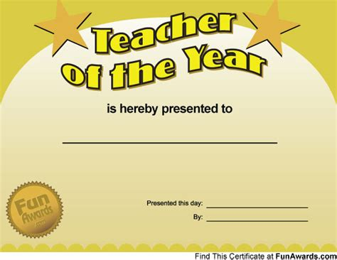free certificate templates for teachers quot of the year quot fully customizable free template