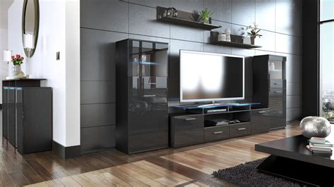 Black High Gloss Living Room Furniture by Wall Unit Living Room Furniture Almada V2 Black High
