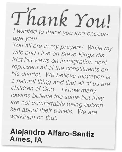 thank you letter to a pastor for preaching fast for families voters in steve king s district thank