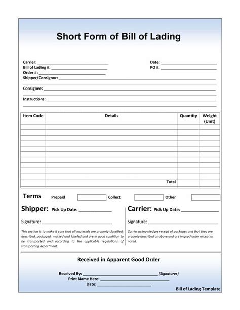free bill of lading template 40 free bill of lading forms templates template lab
