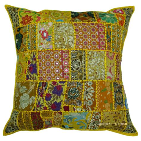 24 Inch Pillows by 24 Inch Indian Patchwork Embroidered Floor Pillow