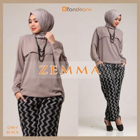 Blouse Muslim Grey Naura Pashmina zemma grey black baju muslim gamis modern