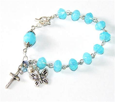 Handmade Rosary Bracelets - butterfly rosary bracelet blue silver handmade felt