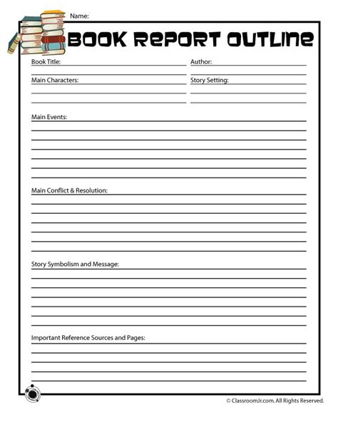 printable book report forms book report outline form for
