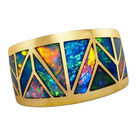 Men's Opal Ring Geometric Inlay Wide Band 14k Gold   FlashOpal