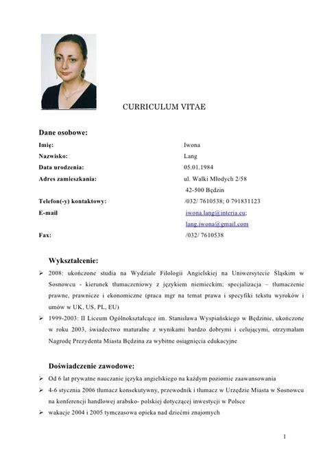 Curriculum Vitae Sle In Doc Iwona Lang Cv Doc