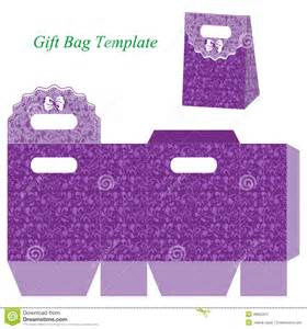 gift bag template purple gift bag floral pattern bow vector illustration box