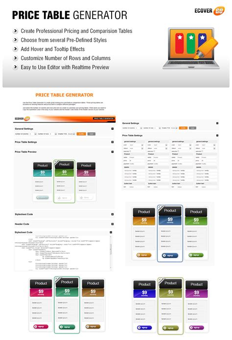 price table generator ecover go graphics suite